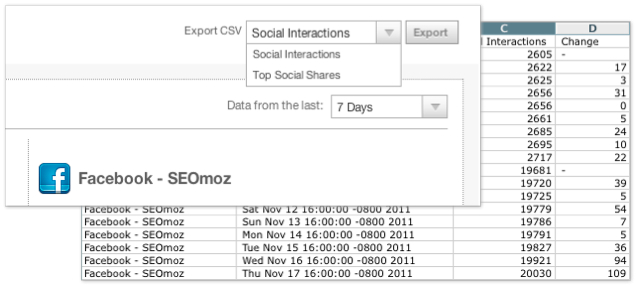 Export social data to CSV