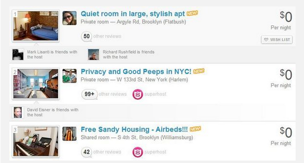 Airbnb Hurricane Sandy