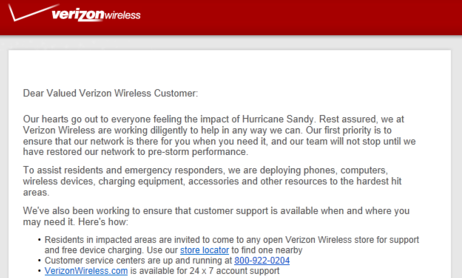 Verizon Hurricane Sandy