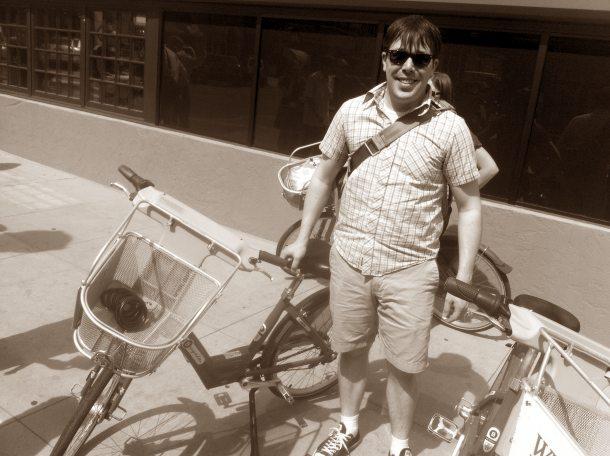 Jamie and his rental bike