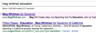 Whitman's page in search results for search on meg whitman education