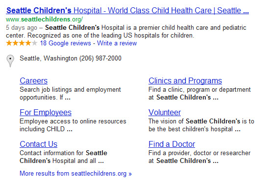 Seattle Childrens site links block