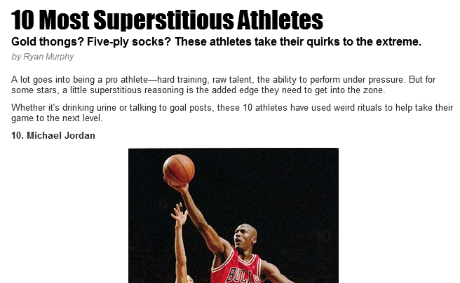 Superstitious athletes