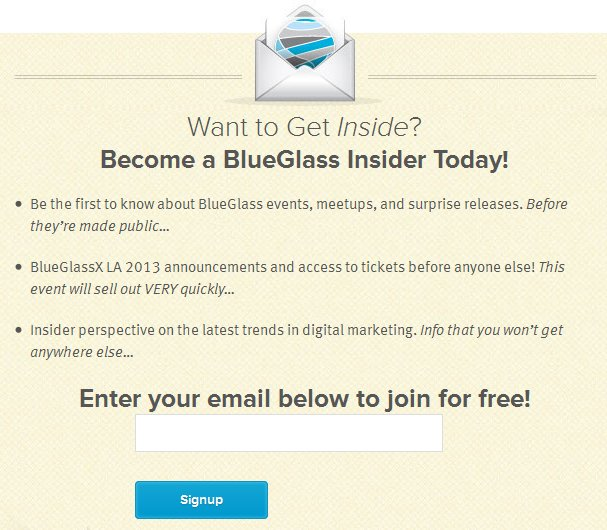 Blue Glass Insider Sign Up Form Example