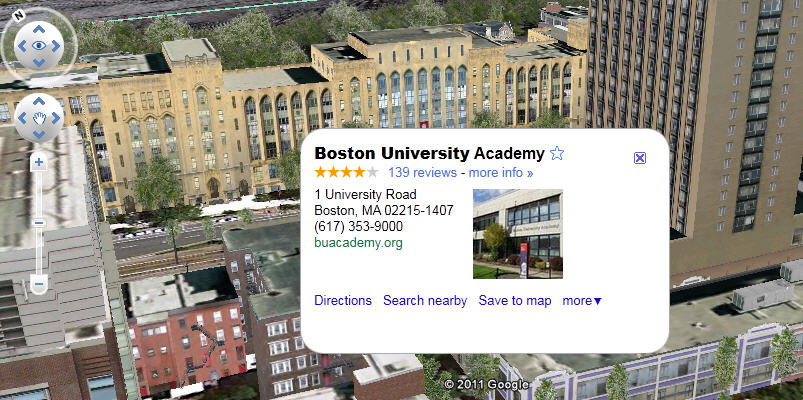 Boston University on Google Earth