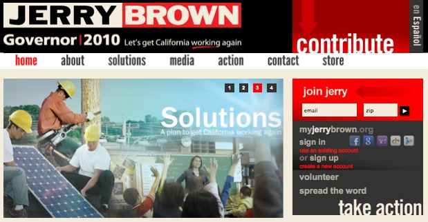 Social sharing on Jerry Brown's home page - no Twitter
