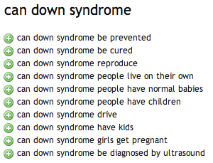 can down syndrome ubersuggest