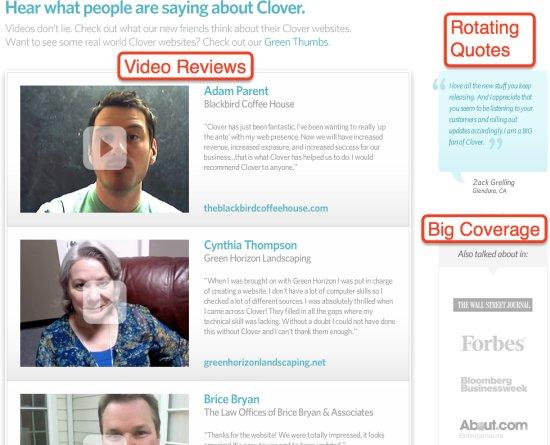 Clover Sites Testimonial