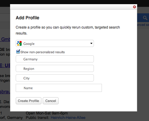 Adding A Custom Search Profile