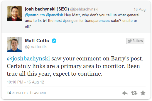 Matt Cutts Tweet