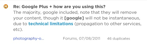 Google Plus dislike: technical limitations