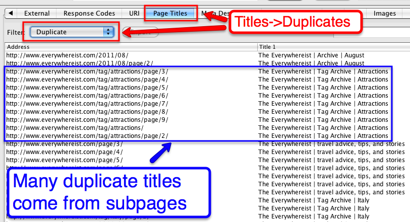 duplicate titles subpages