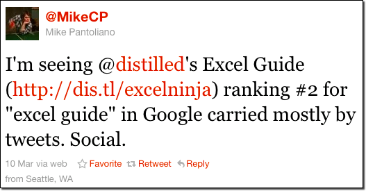 Tweet from Mike about Excel Guide