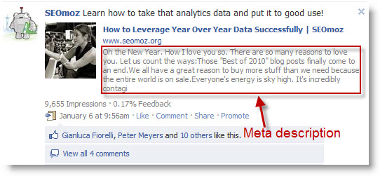 Facebook meta description