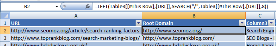root domains calculated with Excel functions