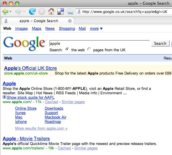 Google search results for apple with gl = uk
