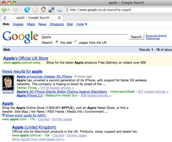 Google search results for apple