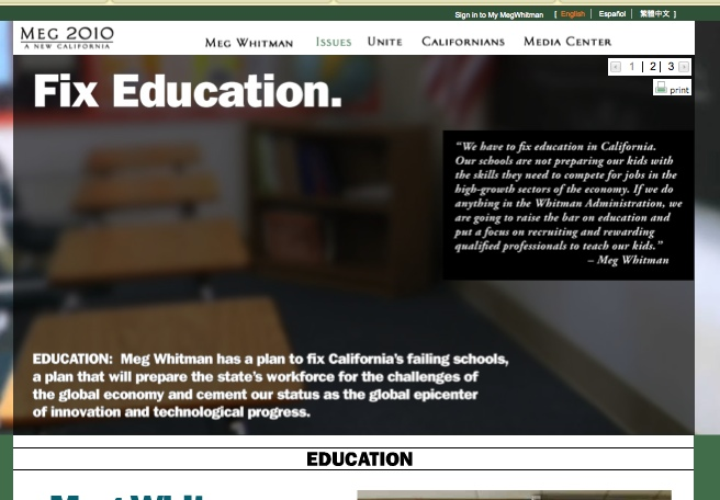 Meg Whitman landing page on education