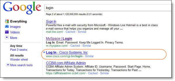 Cisco Login Page SERP