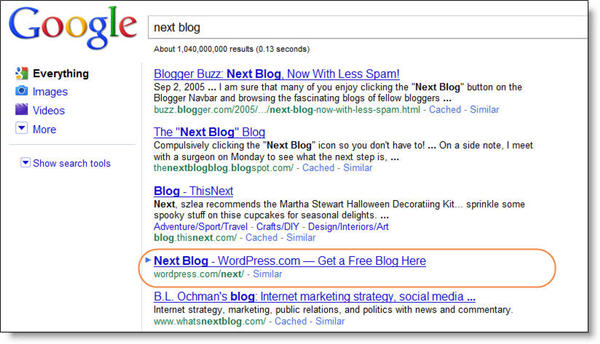 WordPress Next Blog SERP