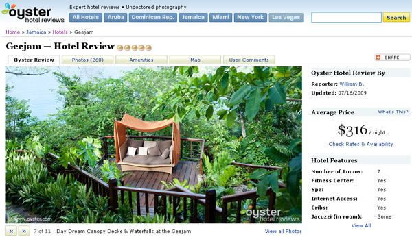 Oyster Hotel Reviews Website