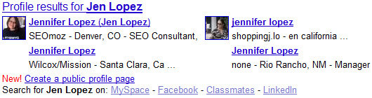 Google Profile Search Results for Jen Lopez