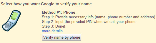 Verify Google Profile by phone