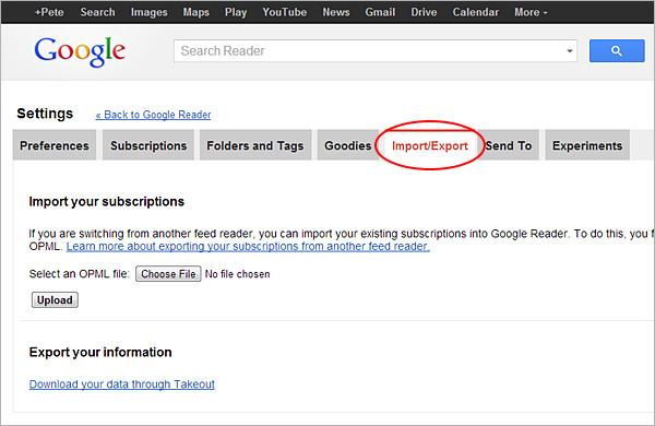 Google Reader export, step 1