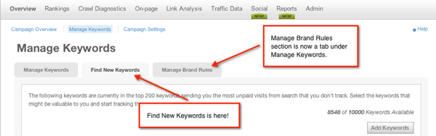 New navigation for brand rules and find new keywords features