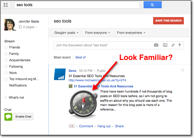 SEO Tools Search on Google+