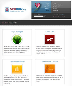 SEOmoz Tools Screenshot