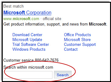Site Search on Bing