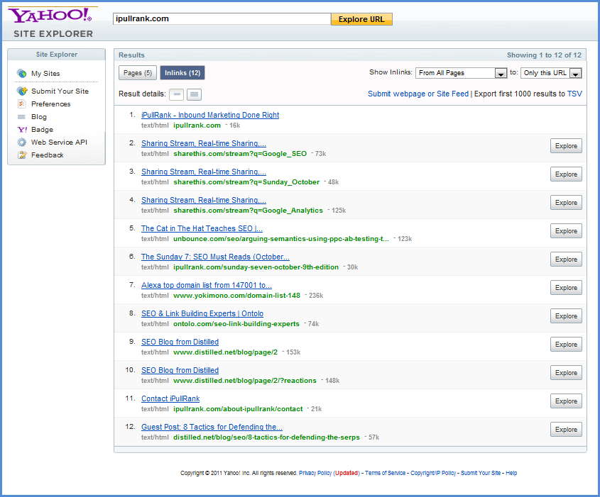 Yahoo Site Explorer Backlink Screenshot