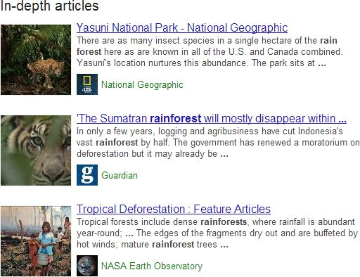 google in depth article result for rainforest