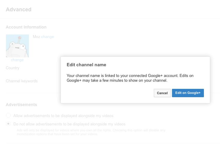 Change your display name in G+ for YouTube