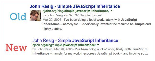 Exemplo de novas exibições de autor com a foto no Google.