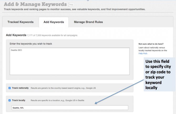 local keywords moz analytics