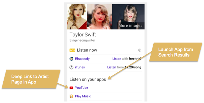 deep links in app search results