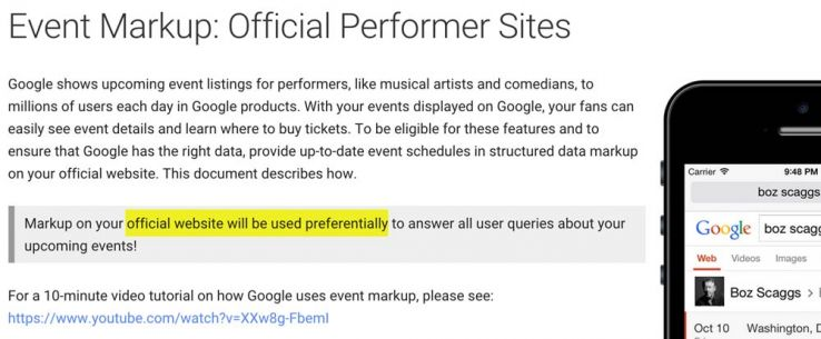 event markup for performer sites