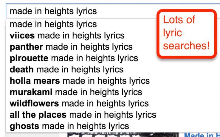 lyric search autosuggest