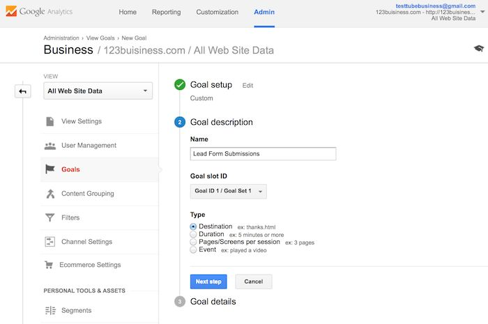 naming a goal in google analytics