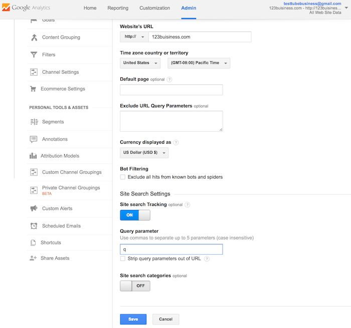 entering the query parameter in google analytics site search