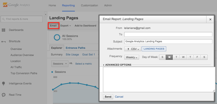 google analytics emailed reports