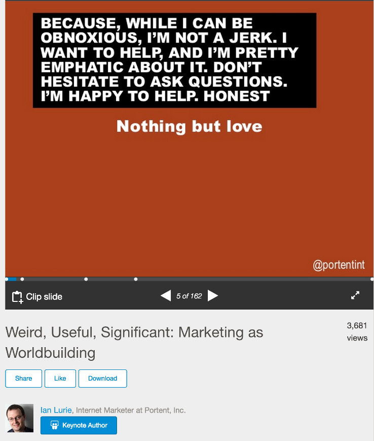 Ian Lurie's slides with extra text for the SlideShare audience