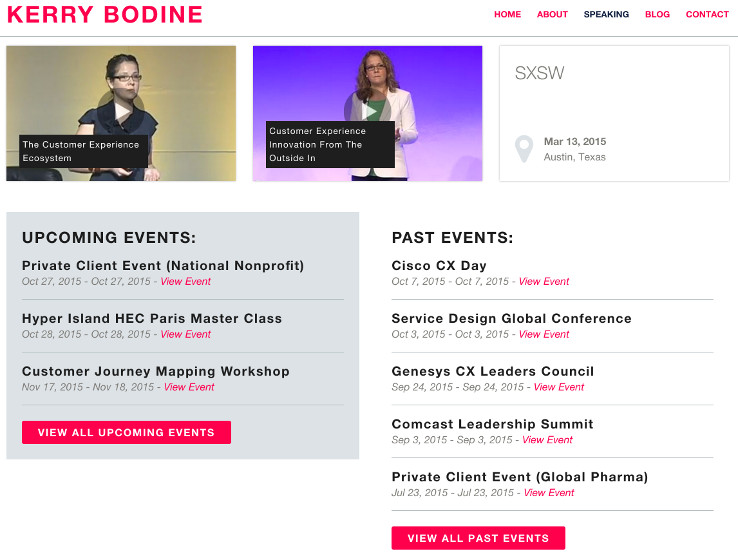 Kerry Bodine's site shows video and past and upcoming speaking gigs
