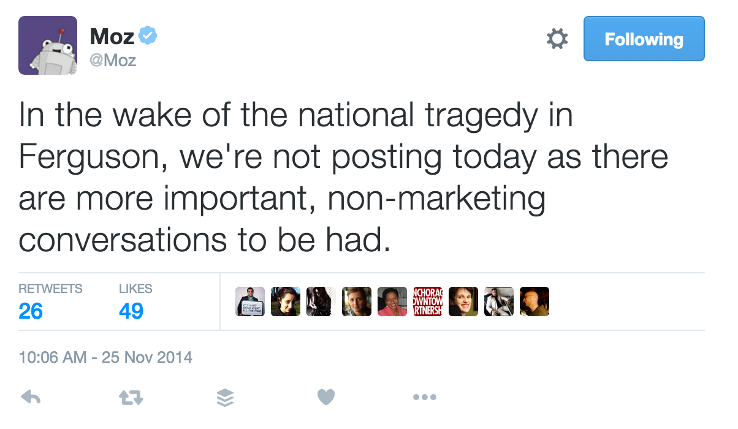 Moz's Ferguson empathy tweet