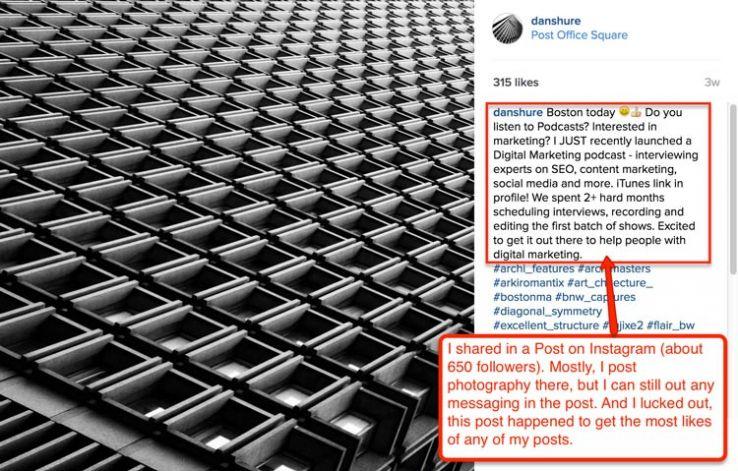 Instagram post sharing podcast info.