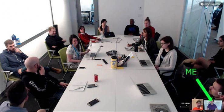 Google Hangout screenshot of the Moz Keyword Explorer team during a meeting. Russ is connected remotely in the corner.