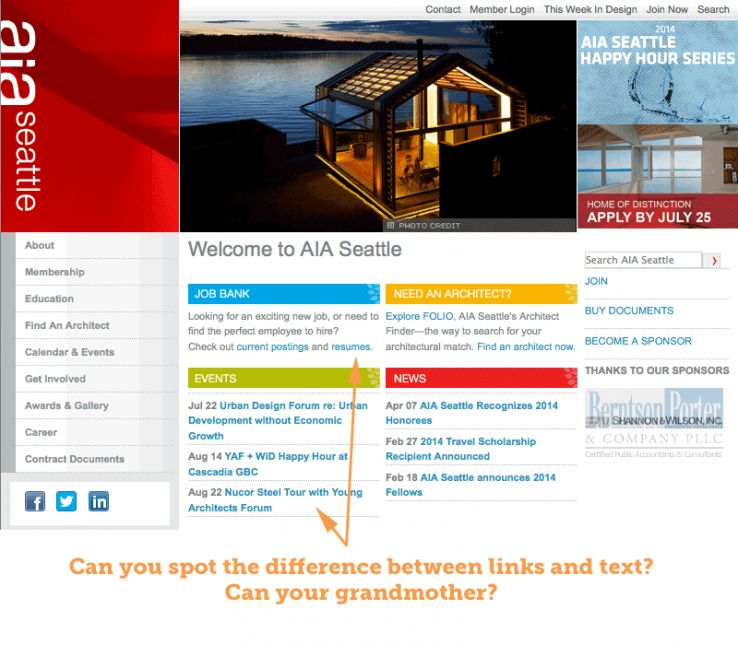 Screenshot of a site that mixes link color with text color, making links difficult to discern from regular text.