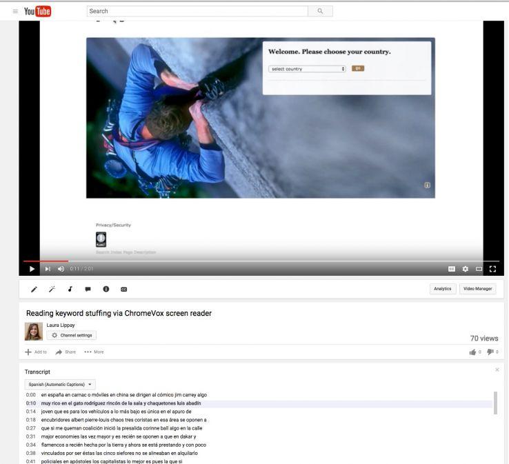 Screenshot of YouTube transcribing a video showing ChromeVox navigation as Spanish language text